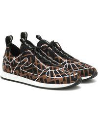 Fendi Neoprene & Mesh Sneakers - Brown