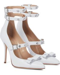 Alessandra Rich Embellished Leather Pumps - White