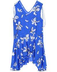 Isa Arfen Floral-printed Silk Top - Blue