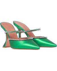 AMINA MUADDI Gilda Embellished Satin Mules - Green