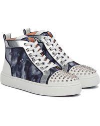 Christian Louboutin Sneakers Super Lou Spikes aus Canvas - Blau