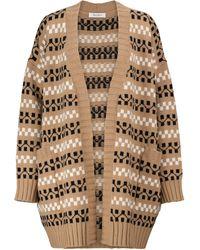 Max Mara Miele Intarsia Wool And Cashmere Cardigan - Natural