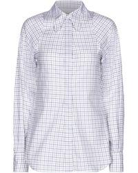 Victoria Beckham Kariertes Hemd aus Baumwoll-Twill - Blau