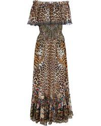 Camilla Vestido de seda estampado - Marrón