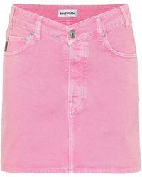 Balenciaga Denim Miniskirt - Pink