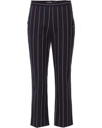 Victoria, Victoria Beckham Cropped Pinstriped Cotton-twill Straight-leg Trousers Navy - Blue