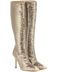 Alessandra Rich Sequined Leather-trimmed Boots - Metallic