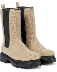 Brunello Cucinelli Chelsea Boots aus Shearling - Natur