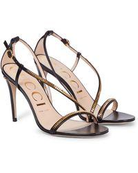 Gucci Embellished Leather Sandals - Black
