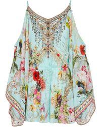 Camilla Embellished Floral Silk Playsuit - Multicolour