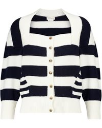 Alexander McQueen Striped Wool-blend Cardigan - Blue