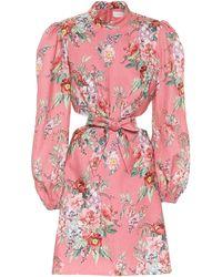 Zimmermann Bellitude Bow-embellished Mini Dress - Pink
