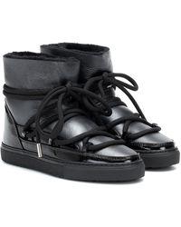 Inuikii Botas Sneaker de piel brillante - Negro