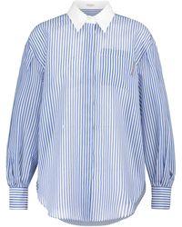 Brunello Cucinelli Chemise rayée en coton et soie - Bleu