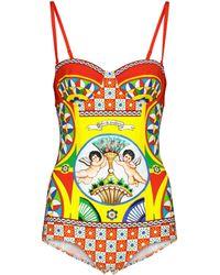 Dolce & Gabbana Bedruckter Badeanzug - Mehrfarbig