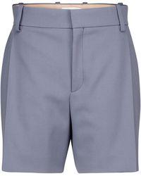 Chloé Shorts de sarga de lana - Azul