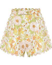Zimmermann Shorts Super Eight de lino floral - Multicolor