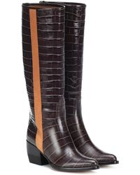 Chloé Vinny Embossed Leather Boots - Brown
