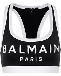 Balmain Logo Stretch-jersey Sports Bra - Black