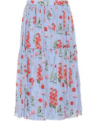 Carolina Herrera Floral Pleated Silk Midi Skirt - Blue