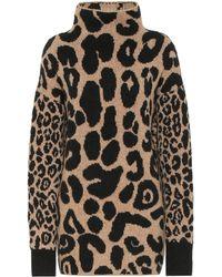 Stella McCartney Pull en coton et alpaga mélangés à motif léopard - Noir