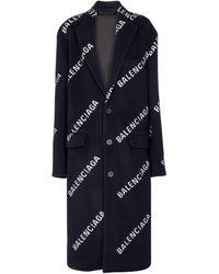 Balenciaga Abrigo Fargo de lana y cachemir - Azul