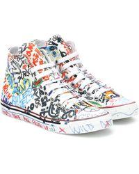 Vetements Graffiti High-top Canvas Sneakers - White
