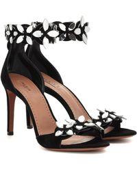 Alaïa Embellished Suede Sandals - Black