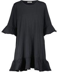 Dorothee Schumacher Mixed Magic Denim-trimmed Cotton Minidress - Blue