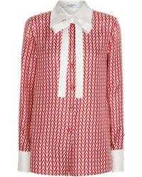 Valentino Blusa de satén de seda estampada - Rojo