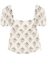 Brock Collection Roseto Floral Cotton And Silk Top - Natural