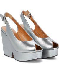 Clergerie Dylan Metallic Leather Platform Sandals