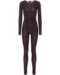 Marine Serre Printed Stretch-jersey Jumpsuit - Black