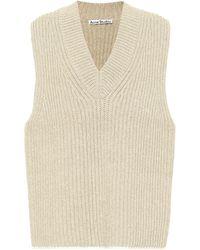 Acne Studios Ribbed-knit Jumper Vest - Natural