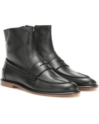 Loewe Leather Loafer Ankle Boots - Black