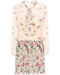 RED Valentino Pleated Floral Minidress - Multicolor