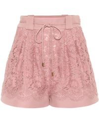 Valentino Wool And Silk-blend Lace Shorts - Pink