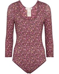 LoveShackFancy Helene Floral Bodysuit - Pink