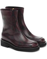 Marni Snake-effect Leather Ankle Boots - Red