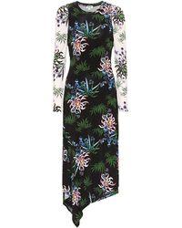 KENZO Floral Stretch-knit Midi Dress - Black