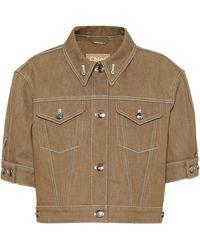 Chloé Cropped Denim Jacket - Brown