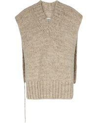 Maison Margiela Pull sans manches en alpaga, coton et laine - Multicolore