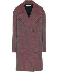Stella McCartney Cappotto in lana pied-de-poule - Rosso