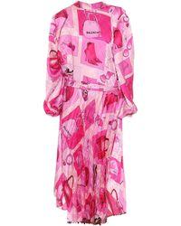 Balenciaga Twisted Printed Crêpe Midi Dress - Pink