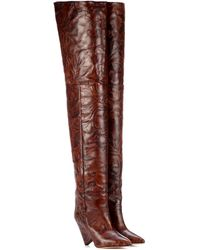 Isabel Marant Lostynn Embossed Leather Boots - Brown