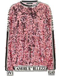 Dolce & Gabbana Verziertes Sweatshirt mit Pailletten - Pink