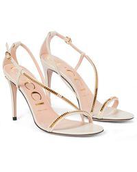 Gucci Verzierte Sandalen aus Leder - Weiß
