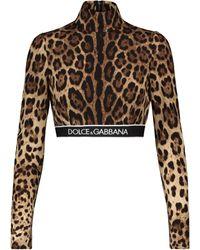 Dolce & Gabbana Top raccourci en soie mélangée léopard - Marron