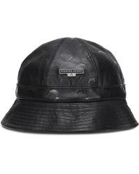 Marine Serre Leather Bucket Hat - Black