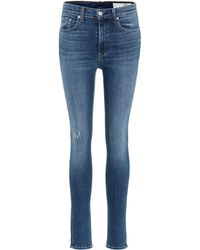Rag & Bone Jeans skinny con tiro alto - Azul